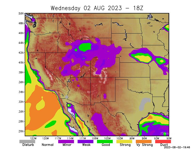 North America west coast   Tropospheric Propagation Forecast